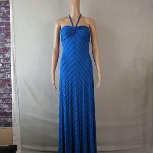 Blue and black stripes summer maxi dress